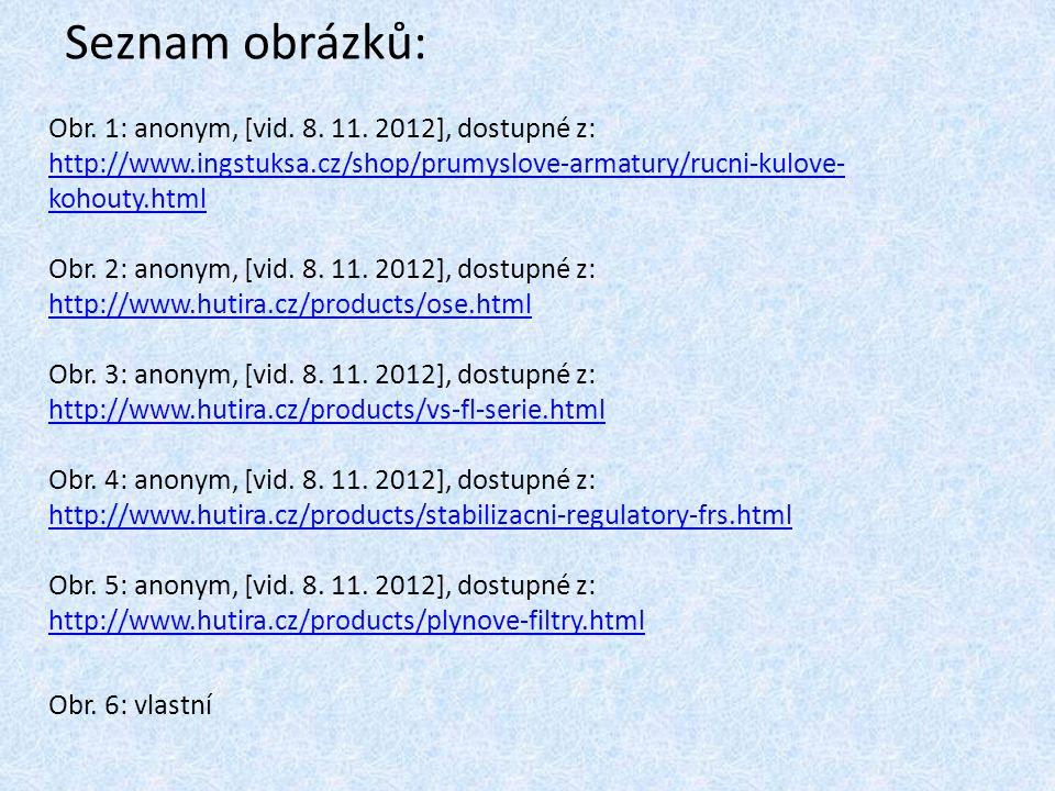 Seznam obrázků: Obr. 1: anonym, [vid. 8. 11. 2012], dostupné z: http://www.ingstuksa.cz/shop/prumyslove-armatury/rucni-kulove-kohouty.html.